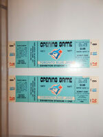 Blue Jays 1977 opening day unripped pair of tickets