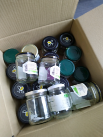 22 empty and clean jam jars with lids