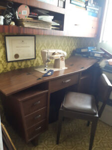 Singer sewing Machine, accessories  plus matching desk and chair