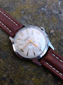 vintage regency military style 1950's manual wind watch