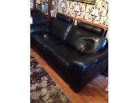 Large leather electric recliner. Sofa