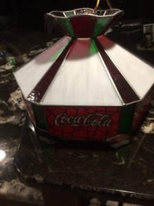 Vintage Coca Cola Stained Glass Swag Light