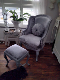 Stunning coach house silver crushed velvet chair