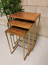 Gold & Oxidize Cooper Effect Modern Industrial Nest of 3 Tables