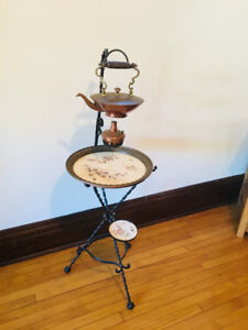 Antique Wrought Iron and Copper Tea Warming Stand