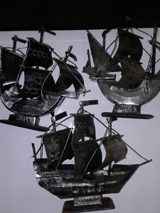 Vintage Selling a lot of 3 skilled hand made metal mini ships