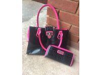 Lipsy Black and Pink Handbag and Purse