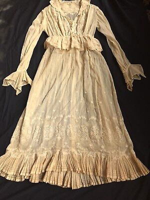 Antique Dark Cream LACE Womens DRESS Curtain cover Victorian Vintage