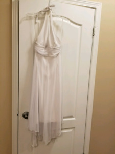 White Medium Halter Flowing Dress