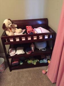 Crib, mattress and change table