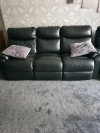 Black leather 3 seater recilners × 3