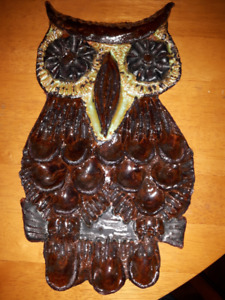 "Hand crafted terracotta owl wall hanging – 12"" x 8"""