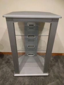 Silver and Glass Entertainment Stand