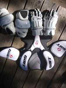 Lacrosse equipment, gloves, elbow pads and chest protector