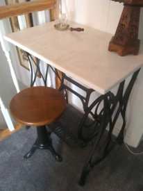 Vintage singer style sewing machine desk and stool