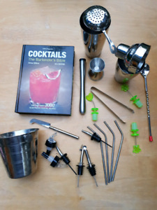 Cocktail set and book