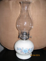 vintage Milk glass oil lamp with extra chimney and oil