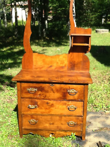 Antique dresser with bed frame and headboard