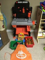 Black & Decker Toy Workbench Set with Tools, Tool Bag, And Wood