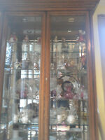 Oak China/Display Cabinet - Also contents priced separately