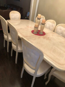Dining Table with chairs and chest