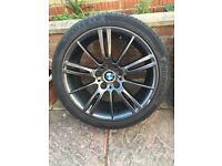 "4 x GENIUNE BMW MV3 18"" ALLOY WHEELS WITH CONTINENTAL SPORT TYRES"