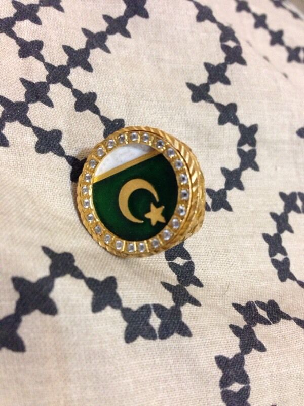 Gold ring 22ct 13 4grams Pakistan flag