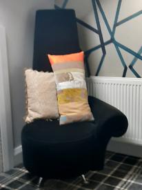 Black velvet occasional modern chair
