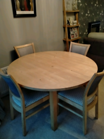 Solid birch dining table and 4 chairs