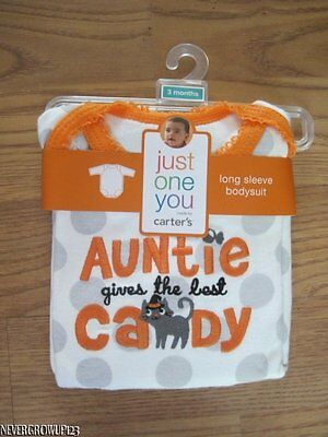 CARTER'S AUNTIE GIVES THE BEST CANDY HALLOWEEN L/S BODYSUIT~NB~3M~6M~NWT - Best Girl Halloween Costume