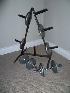Set of weights with stand and handbars