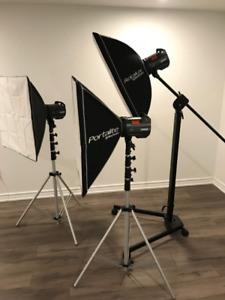 Complete Elinchrom BRX 500 x 3 light kit w/ stands and softbox