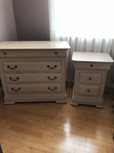 double bed 2 night tables 1 bureau and mirror 1 low commode