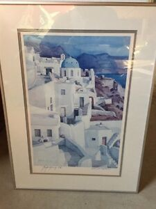 Oia Santorini signed print in metal frame Kitchener / Waterloo Kitchener Area image 1