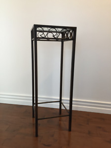 Forged iron console table with glass top