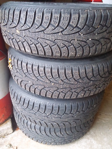 Winter tires 185 65 15 with steel wheels 4x100