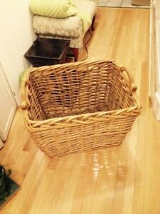 Very Large Woven Wood  Strip Decorator Basket With Handles