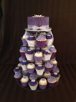 Wedding rentals, cupcake stand, cake plates and decor.