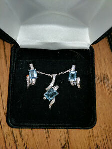 AQUAMARINE AND DIAMOND NECKLACE AND EARRINGS
