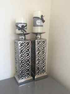 Brand New Pillar Candle Holders - includes NEW candles