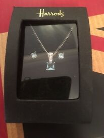 Harrods blue cubic zirconia necklace and earring set