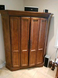 Wood corner tv cabinet with tv and surround system