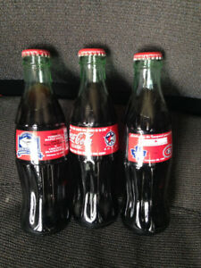 3 Collectable Toronto Maple Leaf & All-Star Coke Bottles