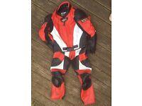 Leather biking jacket and matching trousers - small
