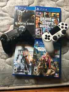 Black PS4, 2 controllers, 4 games & Charging thing London Ontario image 1