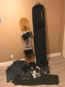 Men's snowboard and gear - boots, jacket, pants, gloves, bag etc