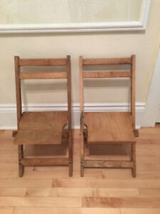Vintage Childrens Rustic Folding Chairs