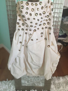 off white party dress, WORN ONCE. From BEBE