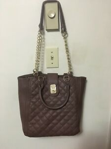 Large Tan Purse with Gold Detailing