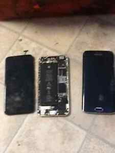 2 phones for parts IPhone 6 & Galaxy Edge S7